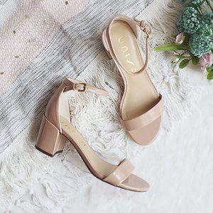 Block Heel Ankle Strap Sandals Blush Pink Nude 6